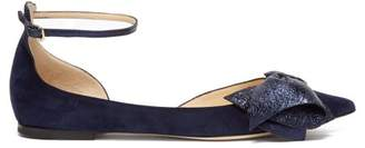 Jimmy Choo - Kaitlyn Bow Embellished Suede Flats - Womens - Navy