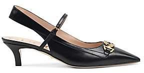 Gucci Women's Zumi Leather Slingback Pumps