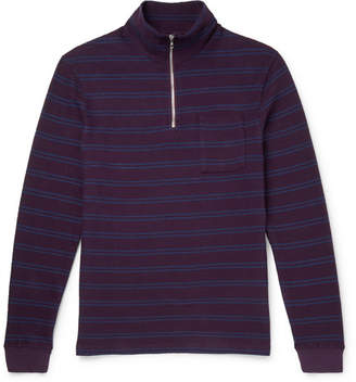 Très Bien Striped Loopback Cotton-Jersey Half-Zip Sweatshirt