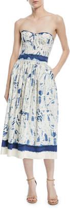 Ralph Lauren Sheena Painted Strapless Cotton Dress