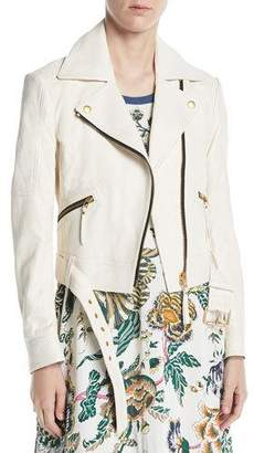 Tory Burch Bonded Lamb Leather Moto Jacket