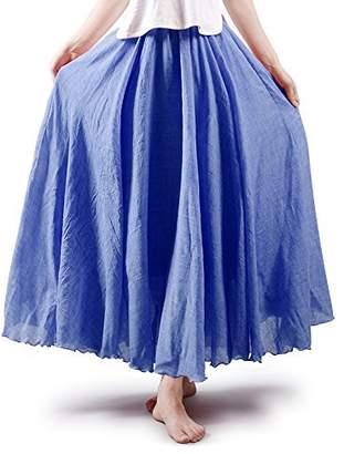 7cd4742a31758 OCHENTA Women s Bohemian Elastic Waist Cotton Floor Length Skirt