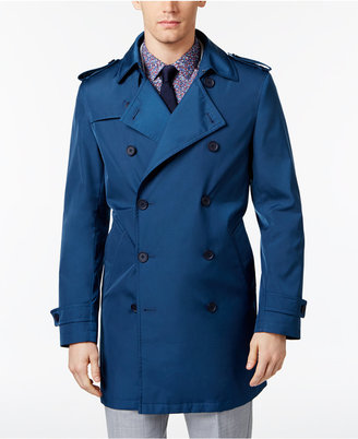 Calvin Klein Men's Slim Fit Double-Breasted Raincoat $350 thestylecure.com
