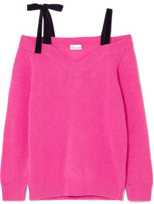 RED Valentino Cold-shoulder Velvet-trimmed Wool Sweater - Pink