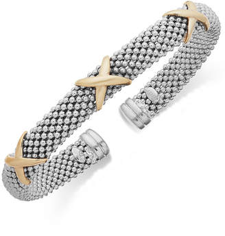 Italian Gold X-Accent Textured Cuff Bracelet in 14k Gold and Sterling Silver