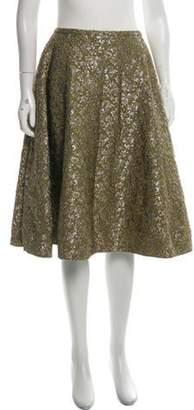 Rochas Embroidered Midi Skirt Green Embroidered Midi Skirt