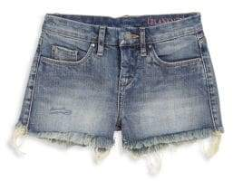 Blank NYC Girl's Distressed-Hem Denim Shorts