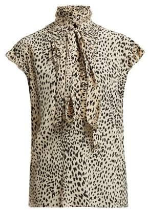 Haider Ackermann Viola Leopard Print Silk Blouse - Womens - Cream Multi