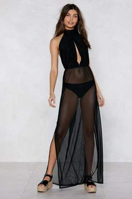 Nasty Gal See You Sheer Halter Cover-Up Dress