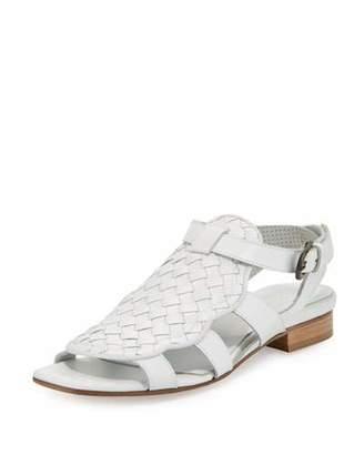 Sesto Meucci Gala Woven Leather Flat Sandal, White $360 thestylecure.com