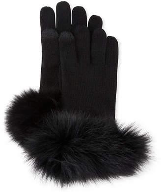Sofia Cashmere Cashmere Gloves w/ Fur Cuffs