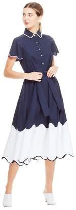 Lela Rose Cotton Poplin Tiered Wave Shirt Dress