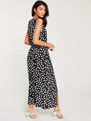 Wallis Polka Dot Dip Hem Dress - Monochrome