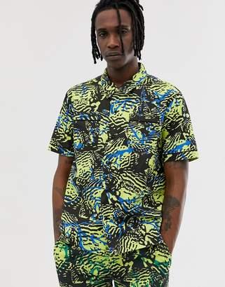Billionaire Boys Club fish camo short sleeve shirt in yellow
