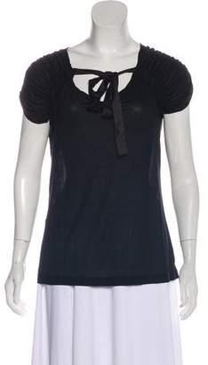 Prada Ruche-Accented Short Sleeve Top