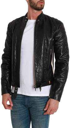 Gucci Soft Leather Jacket With Side Stripe