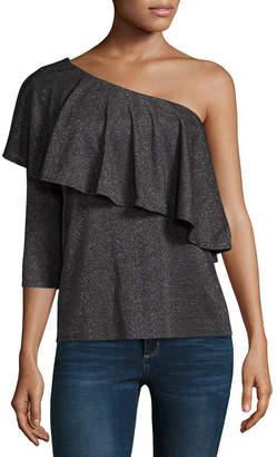 BELLE + SKY Long Sleeve One Shoulder Ruffle Top