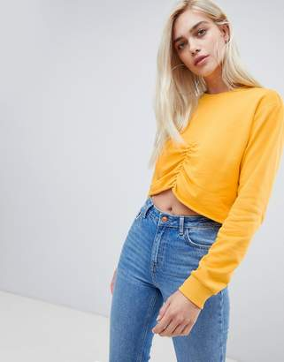 Asos Design DESIGN crop sweat with gathered front
