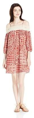Trixxi Women's Printed Cold Shlder Dress