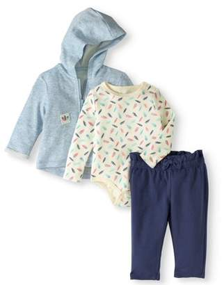 Quiltex Newborn Baby Girls' French Terry Hoodie Jacket and Pants 3-Piece Outfit Set