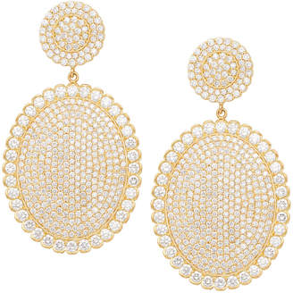 Jamie Wolf 18k Scalloped Diamond Pave Oval Drop Earrings