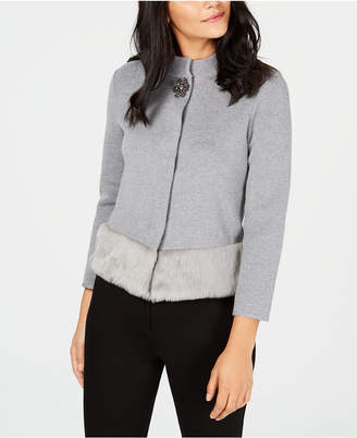 JM Collection Faux-Fur Trim Sweater Jacket