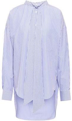 Balenciaga Tie-neck Striped Cotton-poplin Shirt