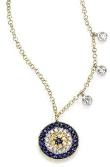 Meira T Diamond, Blue Sapphire& 14K Yellow Gold Evil Eye Necklace