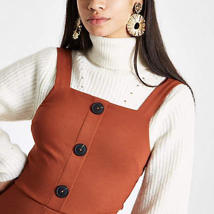 Womens Orange button-up pinafore mini dress