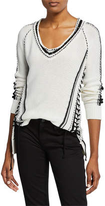 Jonathan Simkhai Chunky Cotton Striped V-Neck Sweater