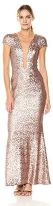 Dress the Population Women's Michelle Cap Sleeve Sequin Long Gown