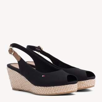 941e0b9fd7 Black Peep Toe Shoes Slingback Wedge Heels - ShopStyle UK