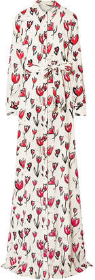 Printed Silk-blend Maxi Dress - White