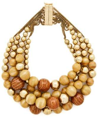 Rosantica By Michela Panero - Cicala Layered Wooden Bead Necklace - Womens - Gold