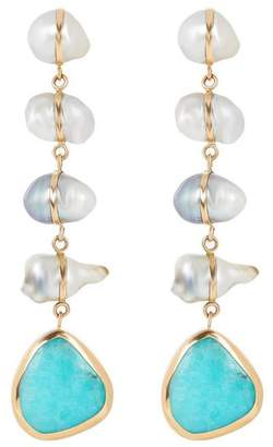 7e0b0d367 Melissa Joy Manning Gold Tahitian Keshi Pearl And Opal Five Drop Earrings