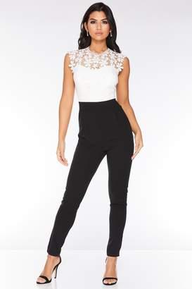 49e5571054 Quiz Cream And Black Lace Jumpsuit