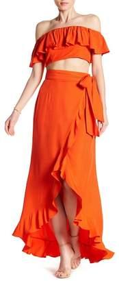 Jay Godfrey Ruffle Crop Top & Wrap Skirt 2-Piece Set