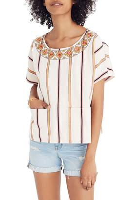 Madewell Embroidered Stripe Boxy Top