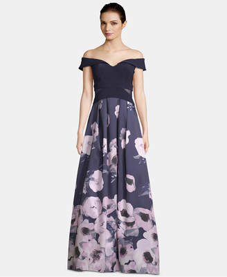 Xscape Evenings X by Off-The-Shoulder Floral-Print Gown