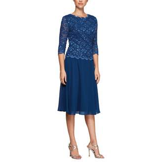 c17dc21411 Alex Evenings Women s Sequin Lace Mock Dress (Petite and Regular)