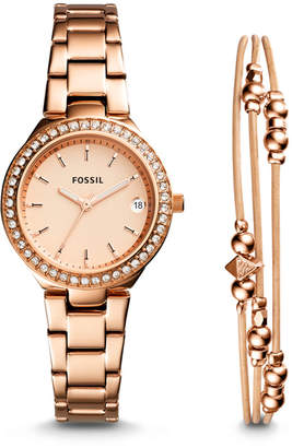Fossil Blane Three-Hand Rose Gold-Tone Stainless Steel Watch and Jewelry Gift Set