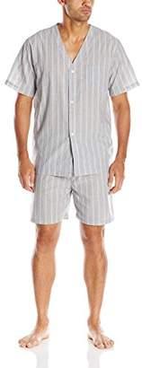 Geoffrey Beene Men's Broadcloth Short Sleeve Knee-Length Pajama Set
