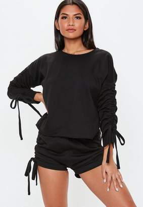 Missguided Black Tie Side Loungewear Short Set