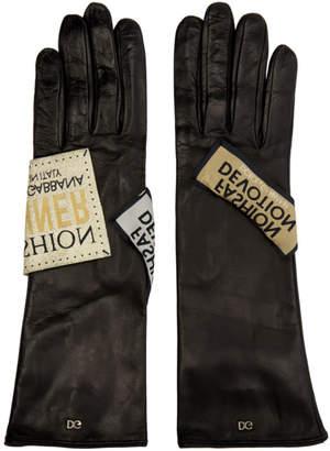 Dolce & Gabbana Black Fashion Devotion Tag Gloves