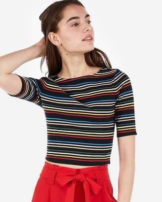 Express One Eleven Stripe Ribbed Abbreviated Tee cccdf316e5cbf