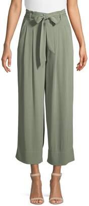 Halston H High Rise Paper Bag Crop Wide-Leg Pants