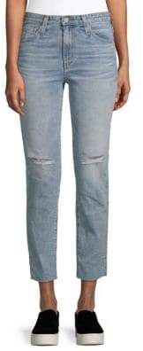 AG Jeans Isabelle Distressed Straight Cropped Jeans