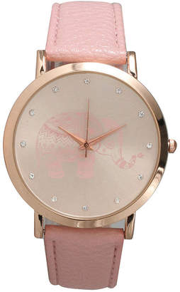 OLIVIA PRATT Olivia Pratt Womens Rhinestone Accent Elephant Dial Pink Rose Leather Watch 26411Pink Rose