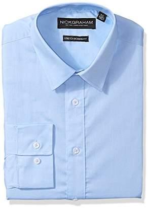 Nick Graham Men's Modern Fitted Solid Stretch Dress Shirt