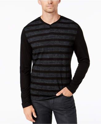 Alfani Men's Striped Henley, Created for Macy's